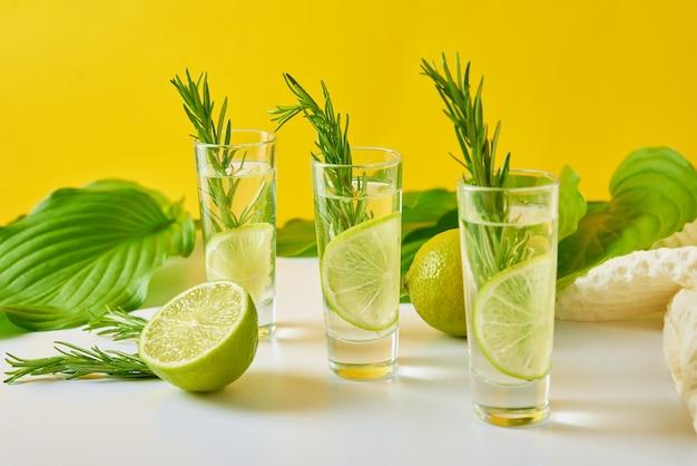 Rinfresco estivo cocktail alcolico con limone e rosmarino sul tavolo