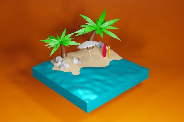 Summer beach 3d rendering in riva al mare con ombrellone e sedia illustrazione vettoriale di sfondo estivo per vacanze in spiaggia