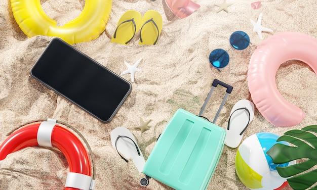 Accessori da spiaggia estivi sul rendering 3d di sabbia