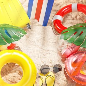 Accessori per la spiaggia estiva sfondo giallo copia spazio 3d rendering