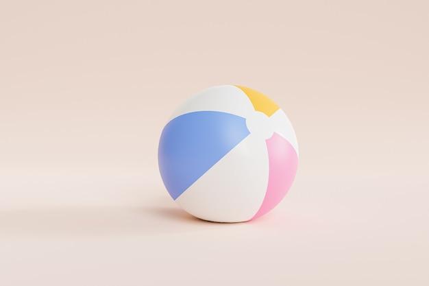 Superficie beige estiva con pallone da spiaggia gonfiabile