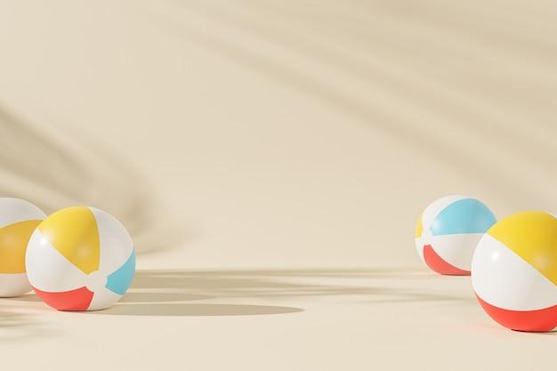 Superficie beige estiva con palloni da spiaggia gonfiabili