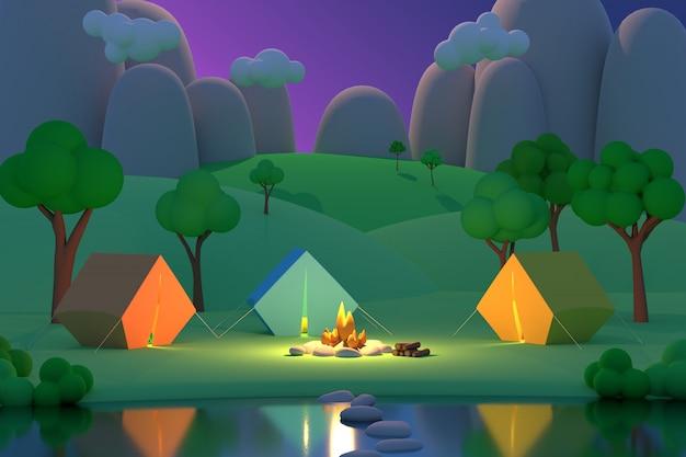 Il campeggio estivo nella foresta nella notte su un fondo delle montagne 3d rende