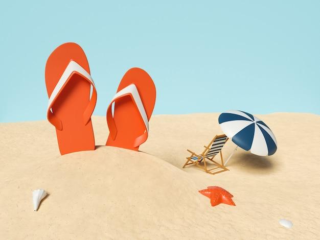 Composizione estiva con accessori da spiaggia sulla sabbia. concetto di vacanze estive