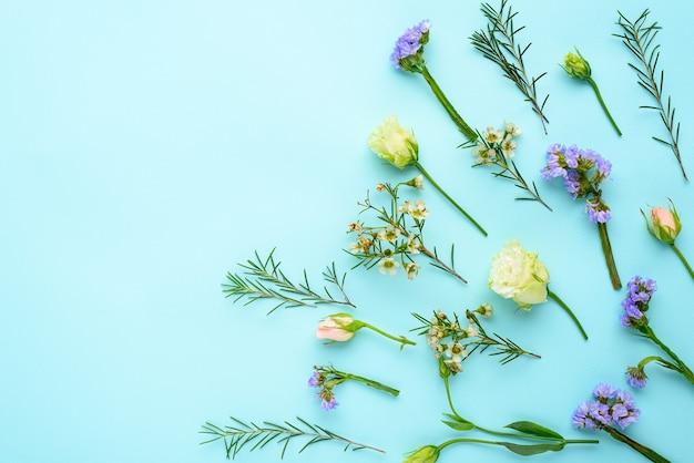Disposizione dei fiori estivi sull'azzurro