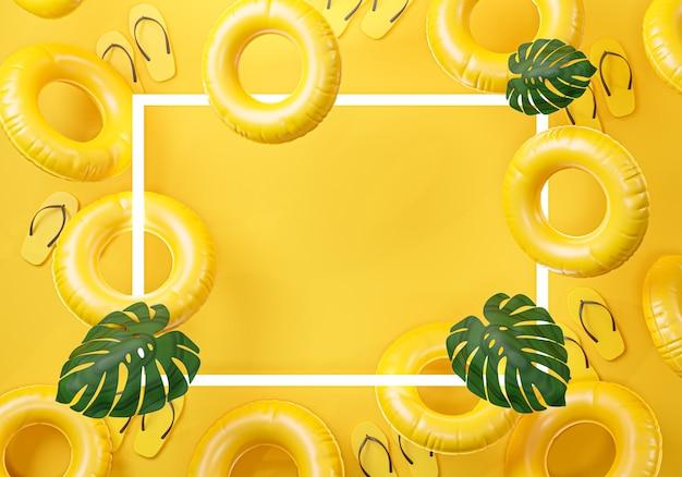 Cornice estiva sfondo giallo copia spazio 3d rendering