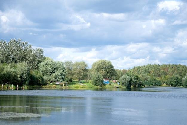 Paesaggio del lago estivo con alberi e cespugli verdi del cielo nuvoloso blu all'orizzonte