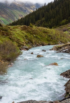 Paesaggio montano estivo con fiume alpino (alpi silvretta, austria).
