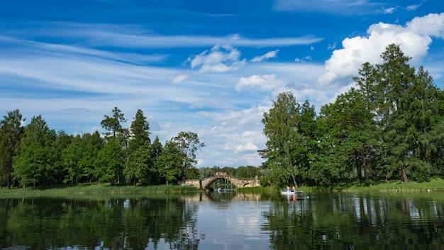 Paesaggio panoramico estivo sul lago. incredibile paesaggio lacustre estivo. meraviglioso lago con riflesso di alberi. nuvole bianche in un cielo blu.