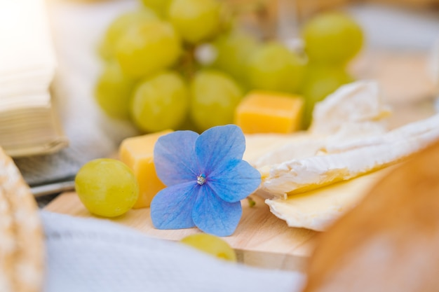 Picnic estivo in una giornata di sole con pane, frutta, bouquet di fiori di ortensie, bicchieri di vino, cappello di paglia, libro e ukulele.