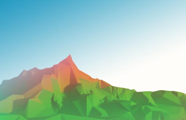 Immagine poligonale estiva del terreno montuoso. illustrazione 3d