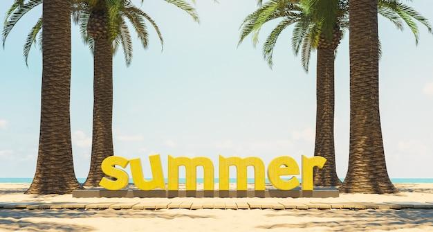 Segno di estate sulla spiaggia di sabbia con palme e percorso in legno