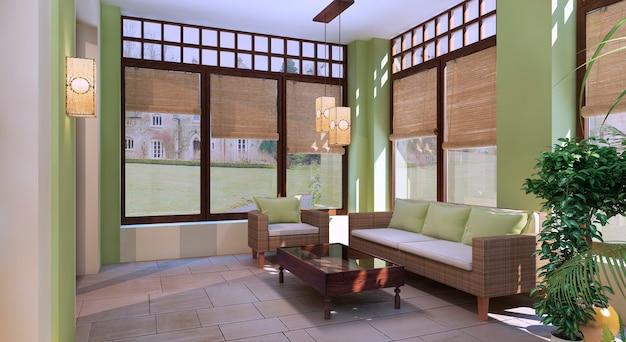 Terrazza estiva in stile orientale con pareti color oliva chiaro