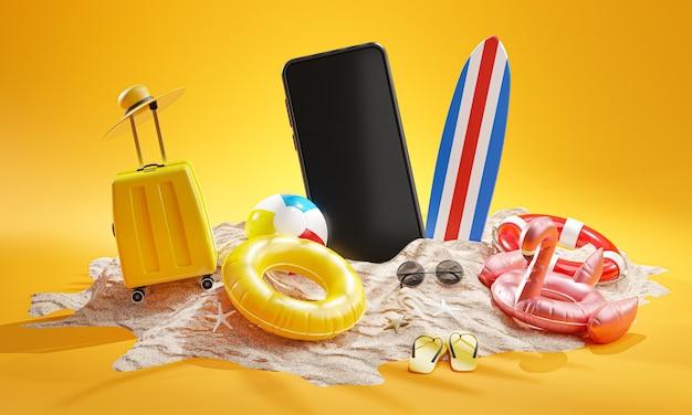 Concetto di sfondo per le vacanze estive accessori da spiaggia rendering 3dd