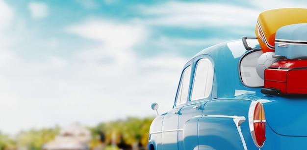 Vacanze estive. concetto di viaggio in auto. illustrazione di rendering 3d