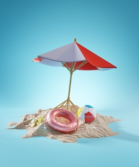 Concetto di vacanza estiva. rendering 3d di ombrellone da spiaggia