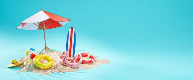 Concetto di vacanza estiva. ombrellone da spiaggia sfondo blu banner copia spazio 3d rendering