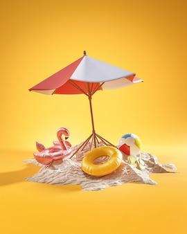 Concetto di vacanza estiva. rendering 3d di sfondo giallo ombrellone da spiaggia