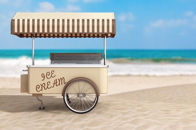 Concetto di vacanza estiva. carretto del gelato su un primo piano estremo della costa deserta dell'oceano. rendering 3d