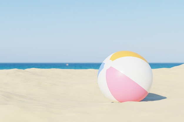 Le vacanze estive emergono con palloni da spiaggia gonfiabili e sabbia, copia spazio, illustrazione 3d render
