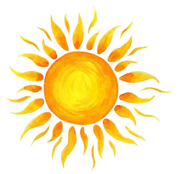 Acquerello del fumetto del sole illustrazione per bambini del sole disegnata a mano isolata su un bianco