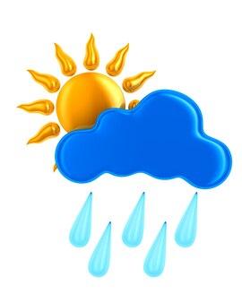 Sole e nuvola e goccia su sfondo bianco. illustrazione 3d isolata