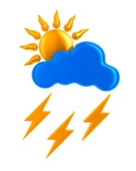 Sole e nuvole e fulmini su sfondo bianco. illustrazione 3d isolata