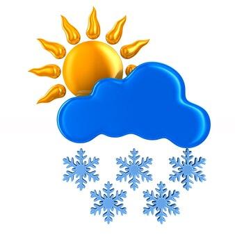 Sole e nuvola e fiocco di neve su sfondo bianco. illustrazione 3d isolata