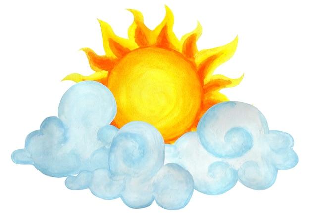 Sole tra le nuvole parzialmente nuvoloso illustrazione del tempo per bambini disegnato a mano isolato su bianco