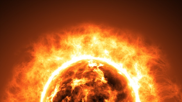 Superficie solare con brillamenti solari. abstract background scientifico