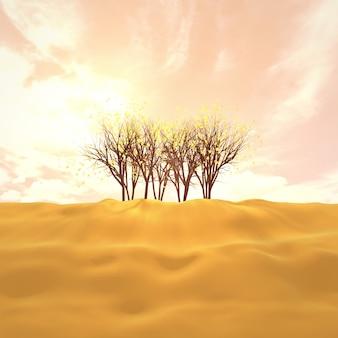 Raggi di sole attraverso alberi dorati immagine 3d resa