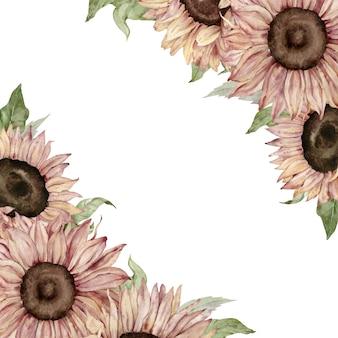 Cornice girasole. disegno di carta di fiori gialli e marroni dell'acquerello.