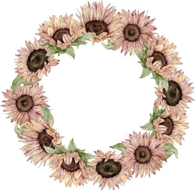 Corona di girasole. disegno di carta di fiori gialli e marroni dell'acquerello. illustrazione disegnata a mano. cornice girasole.