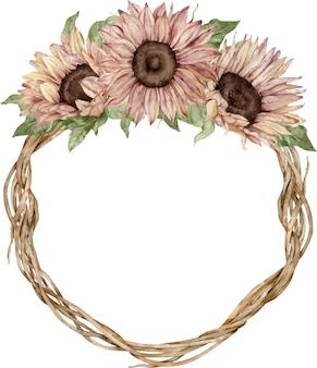 Corona di girasole. disegno di carta di fiori gialli e marroni dell'acquerello.