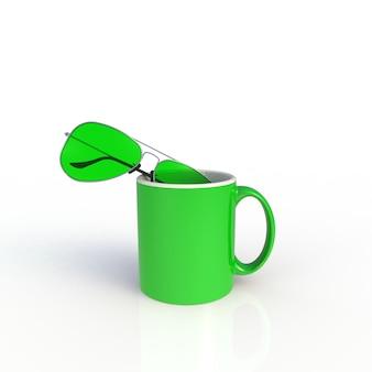 Occhiali da sole con la tazza di caffè verde su bianco