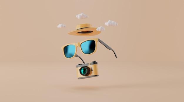Occhiali da sole con cappello e macchina fotografica su beige. concetto di viaggio.