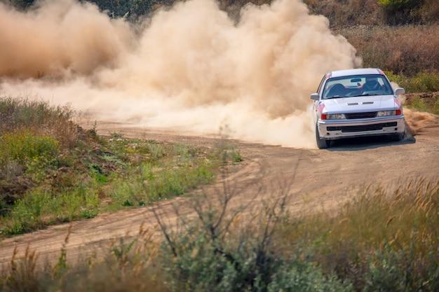 Giornata di sole estivo. pista da rally polverosa. l'auto sportiva fa molta polvere a sua volta 01