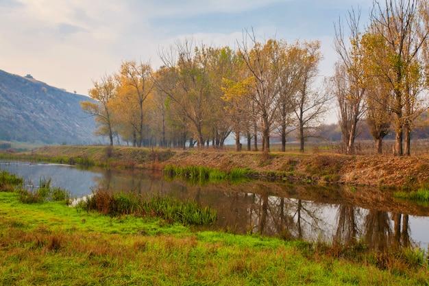 Alba su un piccolo fiume nebbioso