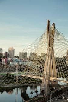 Tramonto sul ponte octavio frias oliveira - sao paulo - brasile