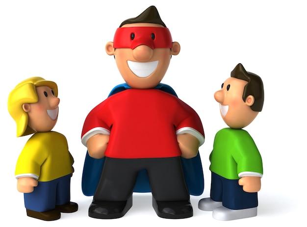 Super papà e suoi figli illustrazione 3d