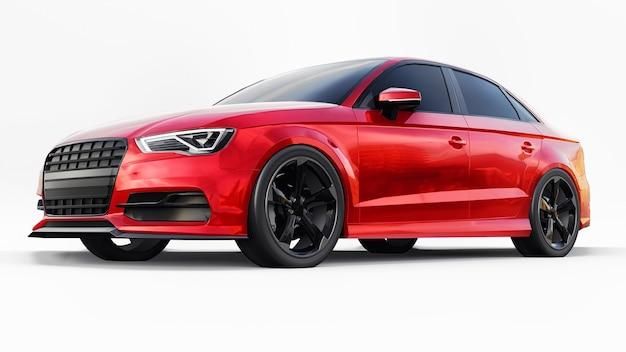 Auto sportiva super veloce di colore rosso metallizzato su sfondo bianco. berlina a forma di corpo. la messa a punto è una versione di una normale auto di famiglia. rendering 3d.
