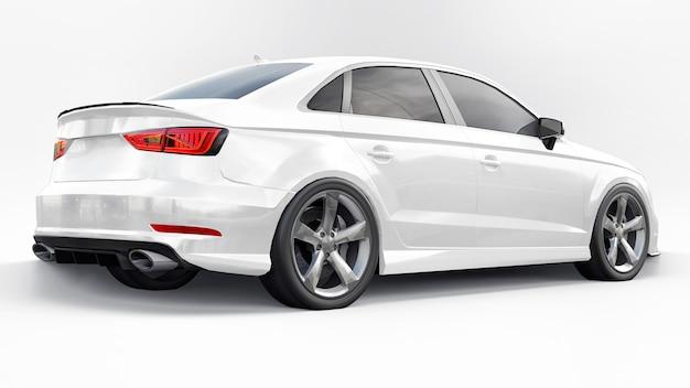 Colore bianco auto sportiva super veloce su sfondo bianco. berlina a forma di corpo. la messa a punto è una versione di una normale auto di famiglia. rendering 3d.