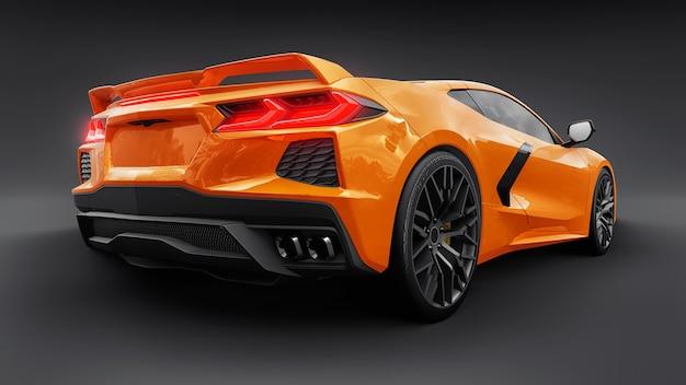 Super auto sportiva su sfondo nero... illustrazione 3d.