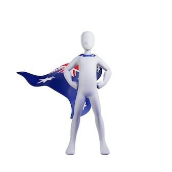 Supereroe 3d rendering con il capo della nazione australia