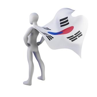 Supereroe 3d rendering con mantello della corea del sud.