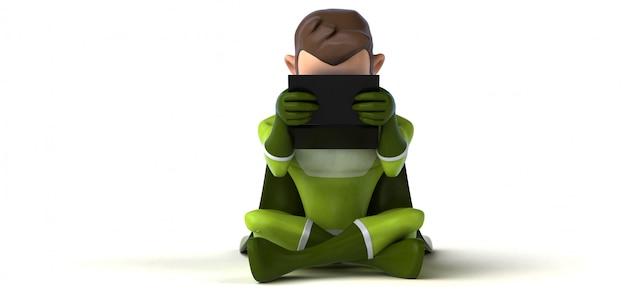 Codifica del supereroe - illustrazione 3d