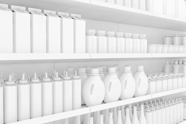 Scaffalature per supermercati con prodotti vuoti o merci in primo piano estremo in stile argilla. rendering 3d.