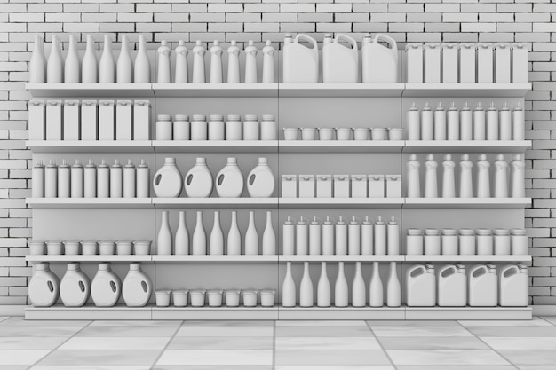 Scaffalature per supermercati con prodotti vuoti o merci in stile argilla davanti a un muro di mattoni. rendering 3d.