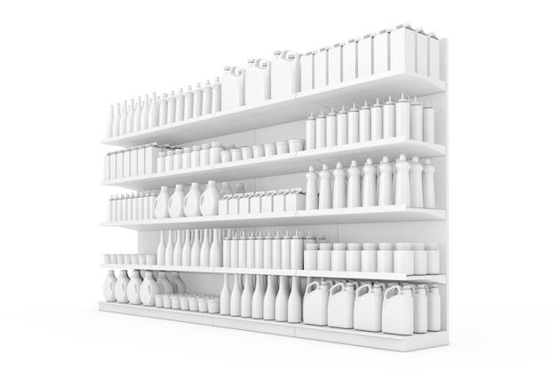 Scaffalature per supermercati con prodotti vuoti o merci in stile argilla su sfondo bianco. rendering 3d.