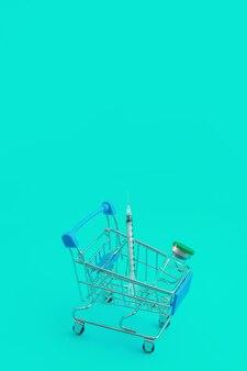 Carrello del supermercato con siringhe e fiala isolate